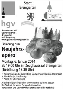 Einladung Neujahrsapero Bremgarten 2014